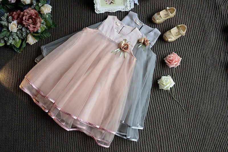 エールラビット 2019 ガールズファッションドレス夏ブローチ単語プリンセスドレスピンクグレー子供服