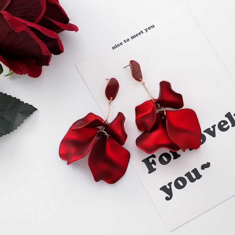 ヴィンテージ誇張花のための女性ウェディングブライダル赤ビッグ花びら韓国イヤリングステートメントジュエリー
