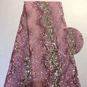 Красивая кружевная ткань с французскими блестками, модная яркая африканская нигерийская кружевная ткань, вечерние платья, модель 2020, ZX3787