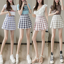 Short Skirt Dress Plaid-Printed-Pattern Seaside/pleated-Hem Apricot/pink High-Waist Women