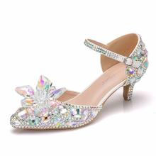 цена на Crystal Pumps Women Shoes High Heels Pointed Toe Crystal Fashion Party Wedding Shoes Bride Mid-Heels Mary Janes Shoes Sandals