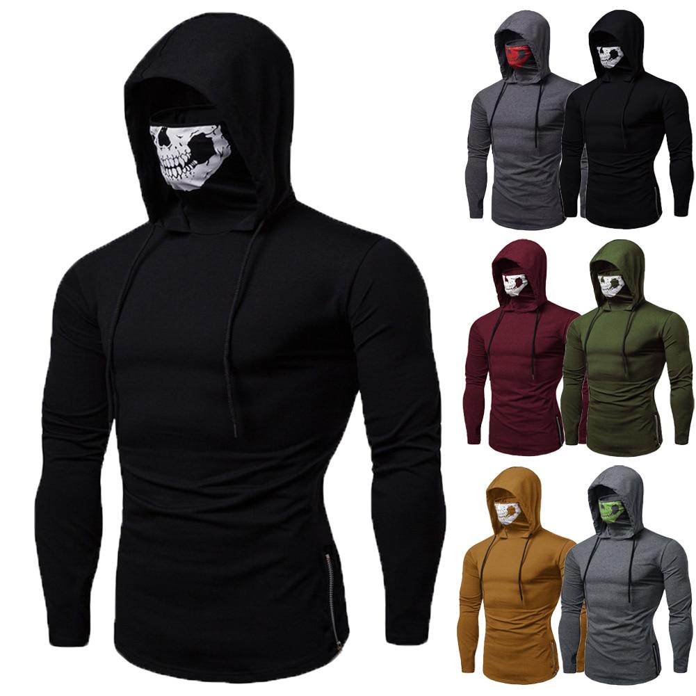Mens Gym Thin Hoodie Casual Long Sleeve Hoodies With Mask Skull Sweatshirt Tops