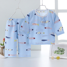 Summer Toddler Boys Girl Baby Kids T Shirt Short Shorts Sleeved 2pc Cotton Air-conditioned Home Service Children Clothing Sets