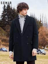Semir wełniany płaszcz męski trencz moda zimowa długi wełniany płaszcz męski koreański wersja czarny dwurzędowy płaszcz tanie tanio Pełna Konwencjonalne Stałe Podwójne piersi Wełna mieszanki Skręcić w dół kołnierz REGULAR 19078101309 Na co dzień