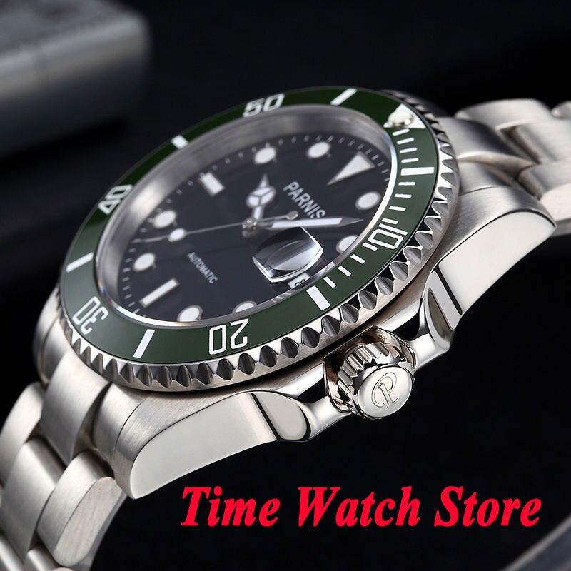 40 millimetri parnis quadrante nero luminoso verde lunetta in ceramica vetro zaffiro MIYOTA movimento automatico orologio da uomo orologio da polso da uomo 637-in Orologi meccanici da Orologi da polso su  Gruppo 2