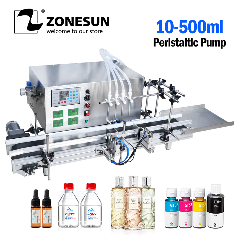 ZONESUN Automatic Desktop CNC Peristaltic Pump Liquid Filling Machine With Conveyor For  Alcohol Hydrogen Peroxide  Water Filler