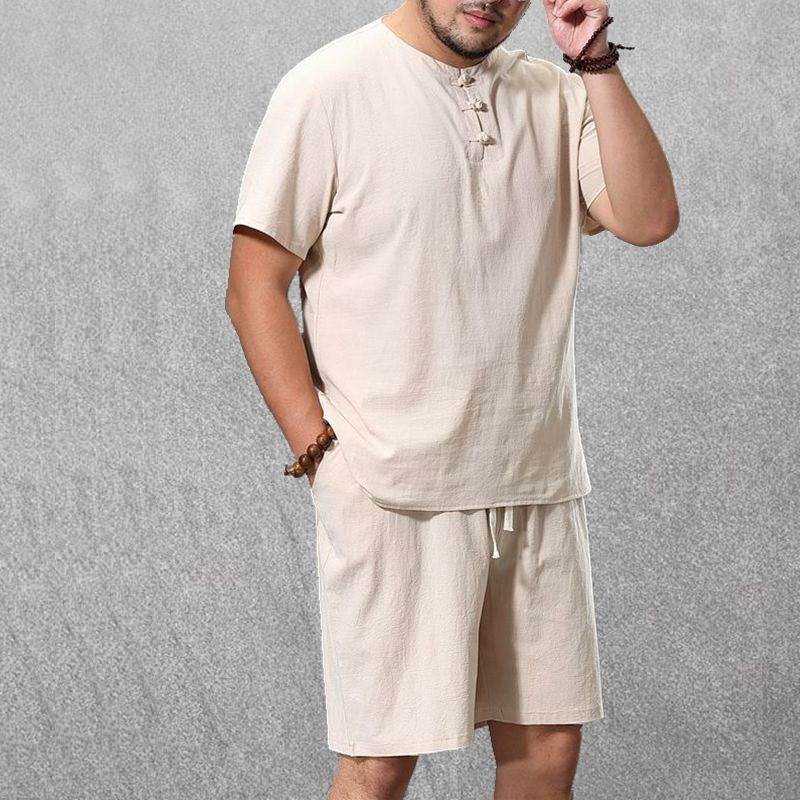 Men's Clothing Large Size Tracksuit 8XL 9XL Linen Short T-shirt Summer Suit Plus Size Clothing Track Suit 5XL Cotton Husband Set