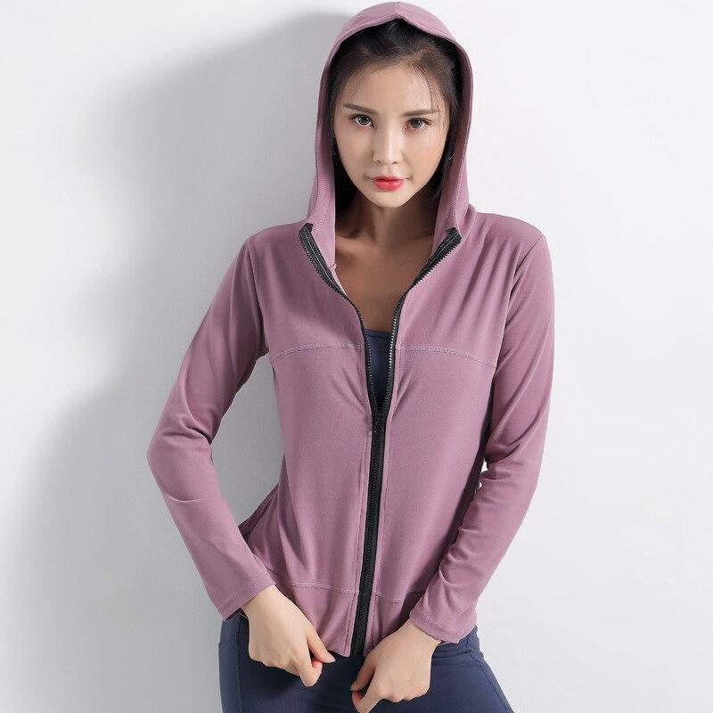 Женская куртка для бега с капюшоном йоги на молнии одежда фитнеса
