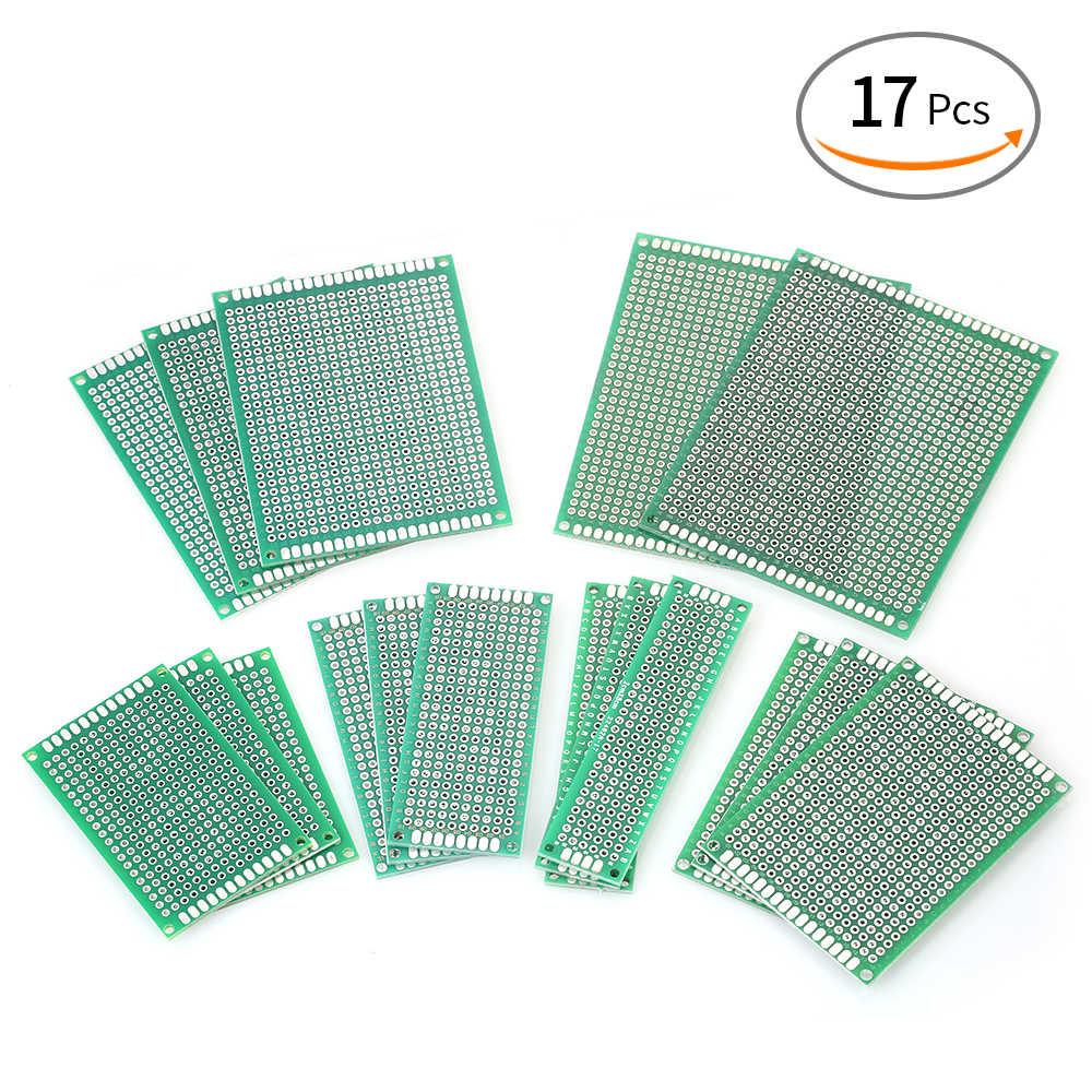17 pièces Kit de carte de Circuit imprimé Double face 6 tailles de circuits imprimés universels pour le soudage de bricolage et les projets électroniques