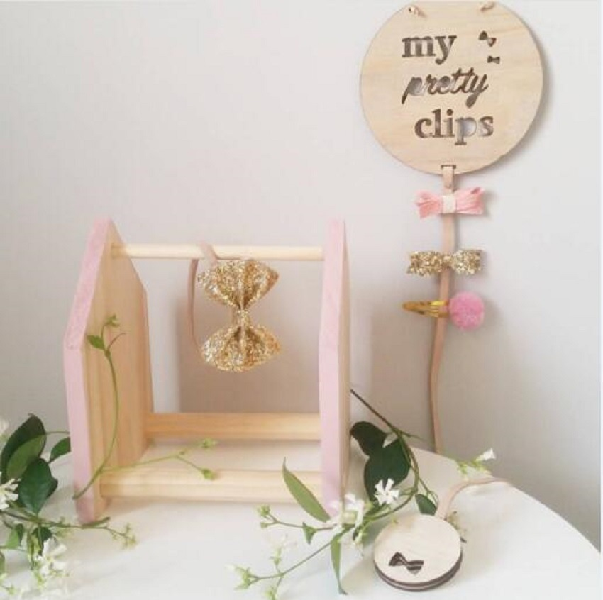 Nordic Style Wooden Baby Bed Hanging Decoration Crafts Wall Hanging Pendant Ornament Baby Hairpin Organizer Photography Props