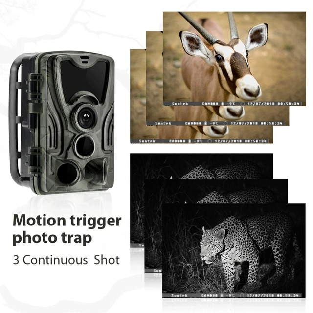 Hunting Camera Trail Cameras HC-801B 64GB 16MP 1080P IP65 Photo Trap 0.3s Trigger Wildlife Surveillance Cams Track 4