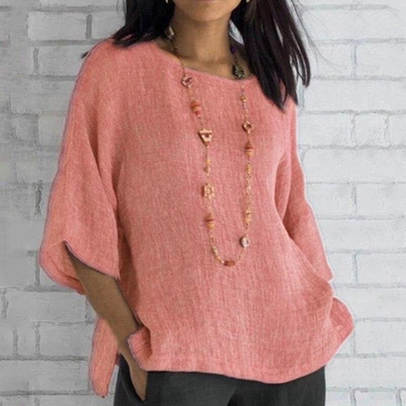 Новинка 2020, женская блуза с рукавом три четверти, Женская Повседневная Свободная Однотонная рубашка, элегантные женские топы с круглым