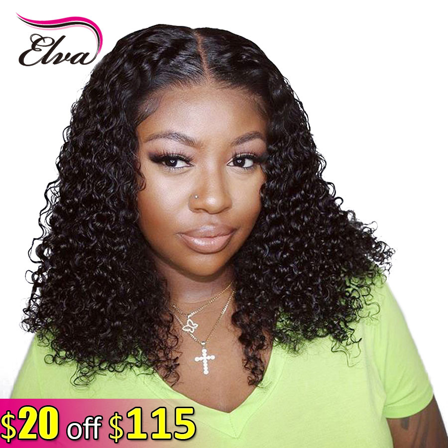 Elva Hair Short Bob Curly 13x6 Lace Front Human Hair Wigs Pre Plucked With Baby Hair Brazilian Remy Hair Wigs For Black Women