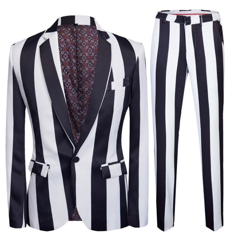 Prom Party Suit Set Fashion Men's Casual One-button Slim Suit Multicolor Variety Print Lapel Suit 2 Piece Set (Jacket+Pants)