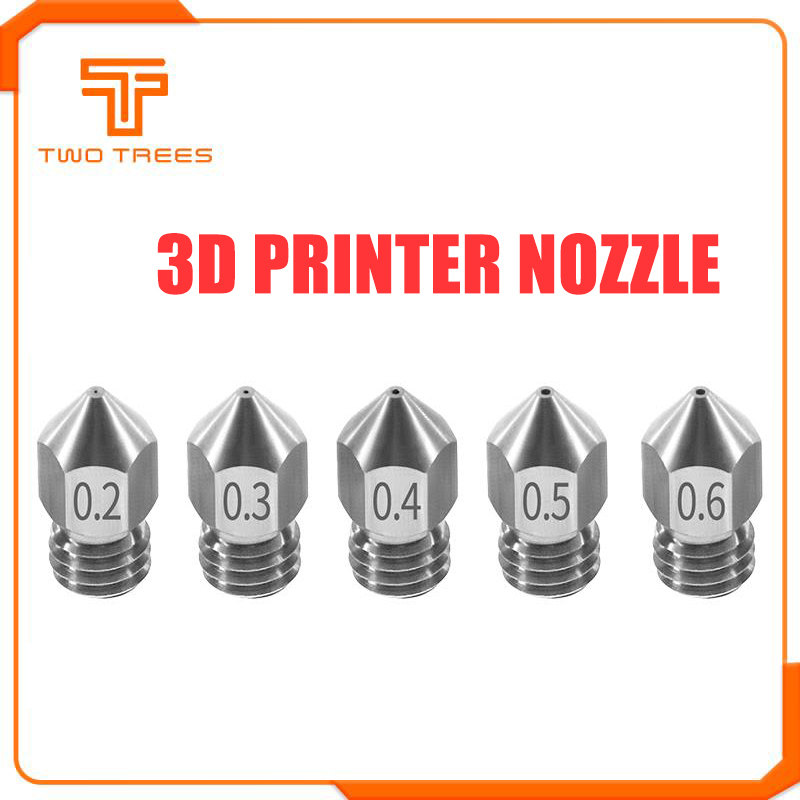 TWO TREES MK8 Nozzle 0.2 0.3 0.4 0.5 0.6mm M6 Threaded Stainless Steel For 1.75mm Filament For CR10 CR-10S Ender 3 Printer