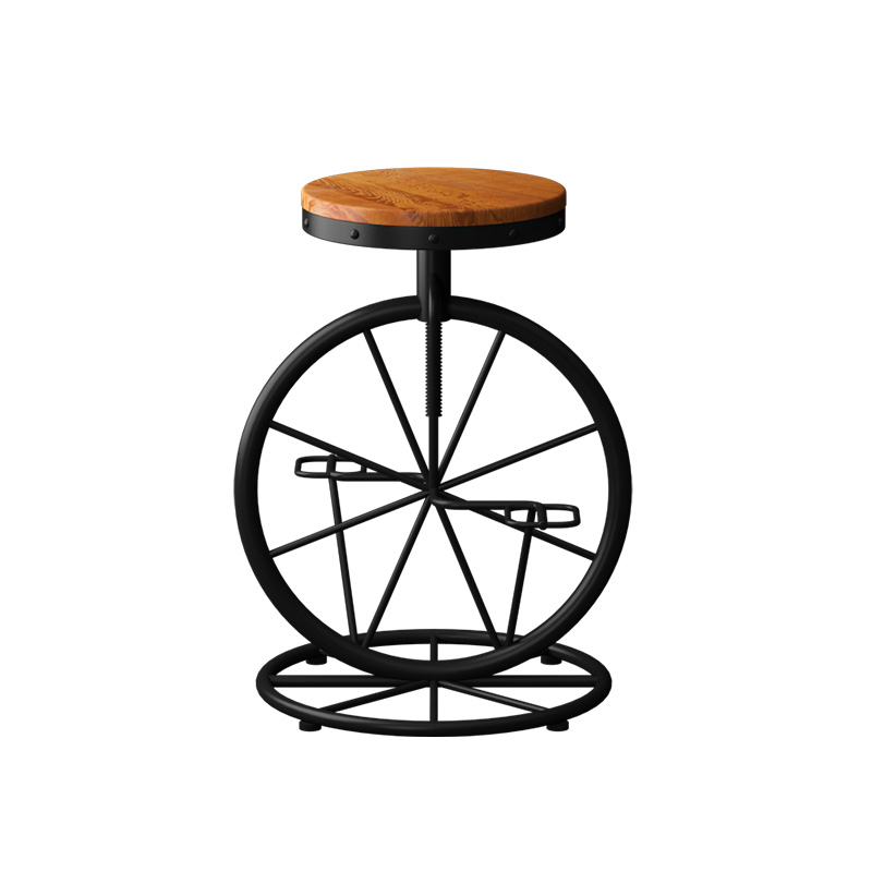 Red American Style Wrought Iron Bar Stool Chair Retro Old Solid Wood     High Foot  Creative
