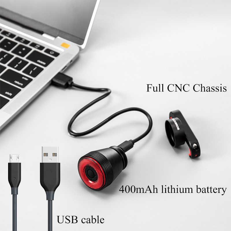 Велосипедный светильник ROCKBROS Smart Sensor USB Перезаряжаемый светодиодный MTB велосипедный светильник задний светильник 6 режимов алюминиевый сплав держатель Аксессуары для велосипеда