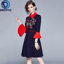 Осеннее синее платье миди с вышивкой для женщин повседневное