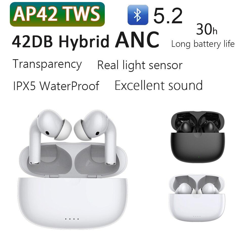 AP42 наушники-вкладыши TWS с шумоподавлением Bluetooth 5,2 Беспроводной наушники Active Шум отмена Airoha 1562A чип IPX5 Водонепроницаемый HD двойной Micphone