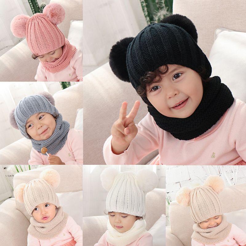 Infant Baby Kid Winter Cute Pompom Ears Beanie Skull Cap Infinite Scarf Set 0-2T