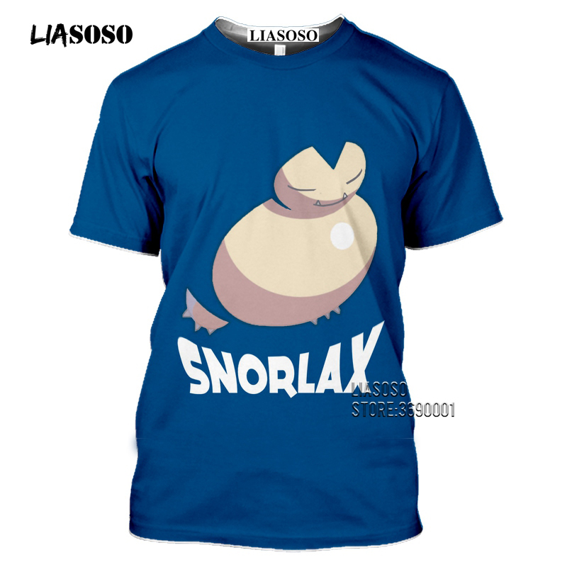 Japan Cartoon Snorlax T shirts Men 3D Print Kawaii Pokemon Tshirt Summer Casual Harajuku Shirt Fitness Hip Hop Tops Streetwear 1