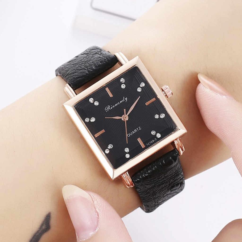 แฟชั่นผู้หญิงสแควร์สุภาพสตรี Rose Gold Dial Band หนัง QUARTZ นาฬิกาข้อมือนักเรียนนาฬิกาของขวัญ часы женские reloj mujer/ D