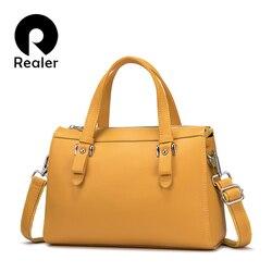 REALER брендовая натуральная кожа сумки для женщин в стиле ретро для отдыха сумка-тоут сумки дизайнерские женские сумки на плечо, женская сумк...