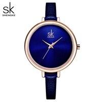 Shengke elegancki zegarek kwarcowy z wąskim paskiem Top marka skórzane damskie zegarki damskie biznes zegarek Relojes Mujer modny zegarek 2018