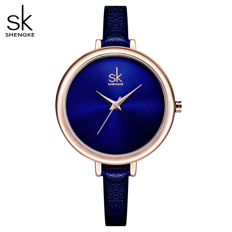 Shengke Elegant Slim Quartz Watch Top Brand Leather Women Watches Ladies Business  Wristwatch Relojes Mujer Hot Clock 2018