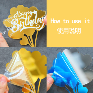 Image 5 - Gold Silver Black Acrylic Hand writing Happy Birthday Cake Topper Dessert Decoration for Birthday Party Lovely Gifts