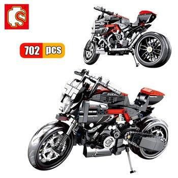 SEMBO Motorrad Technik Geschwindigkeit Motorrad Gebäude Blcoks Stadt Fahrzeug Setzt Offroad Modell Bildungs Bricks Kits MOC Kinder Spielzeug