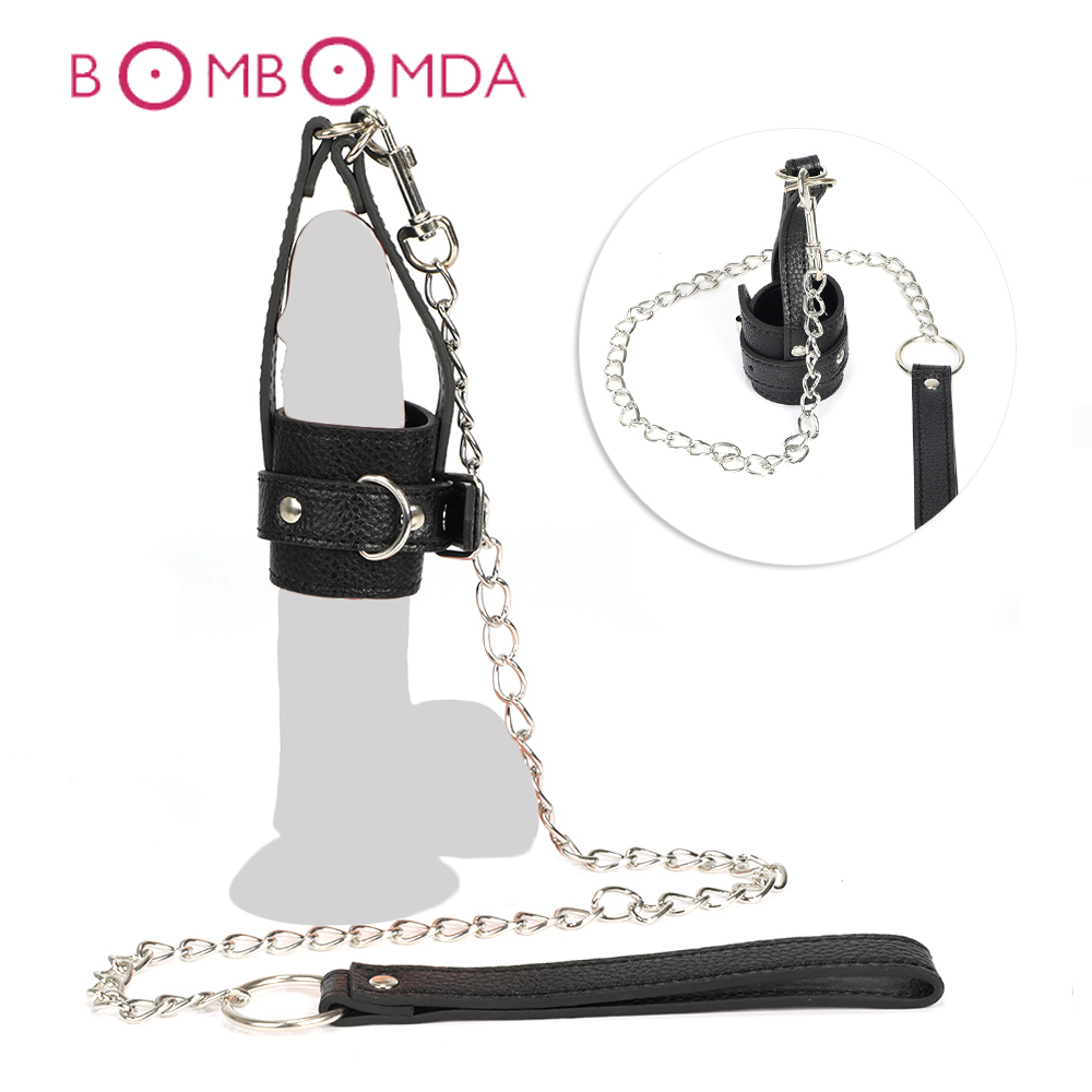 BDSM Bondage Penis Ring SM Toy For Men Cock Ring Traction Chain Penis Chastity Cage Fetish Erotic Toy Penis Sleeve Adult Sex Toy
