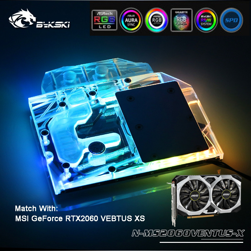 Bykski pleine couverture GPU RGB/A-RGB bloc d'eau pour VGA MSI RTX 2060 VENTUS XS carte graphique N-MS2060VENTUS-X