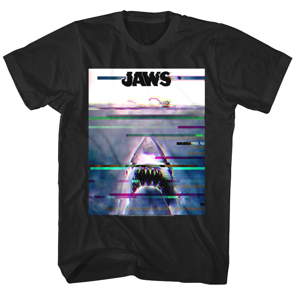 Jaws Shark Movie Opening Scene Glitch Men's T Shirt Vintage Ocean Attack Swimmer image