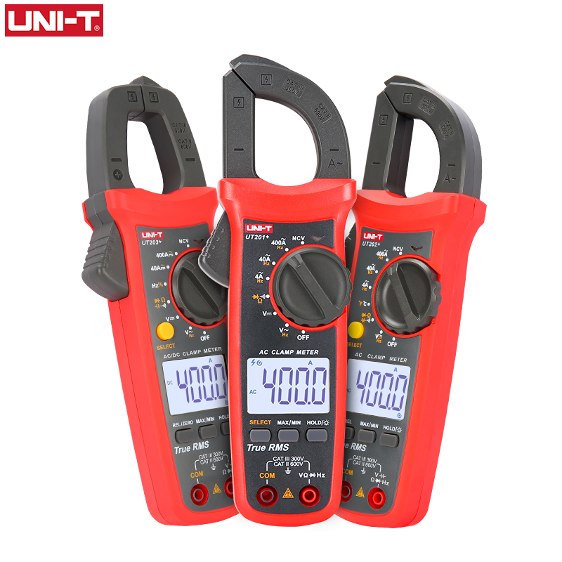 UNI T UNI-T Digital Clamp Meter UT201+ UT202+ UT203+ AC DC Current Amperimetro Tester Multimeter Resistance Frequency