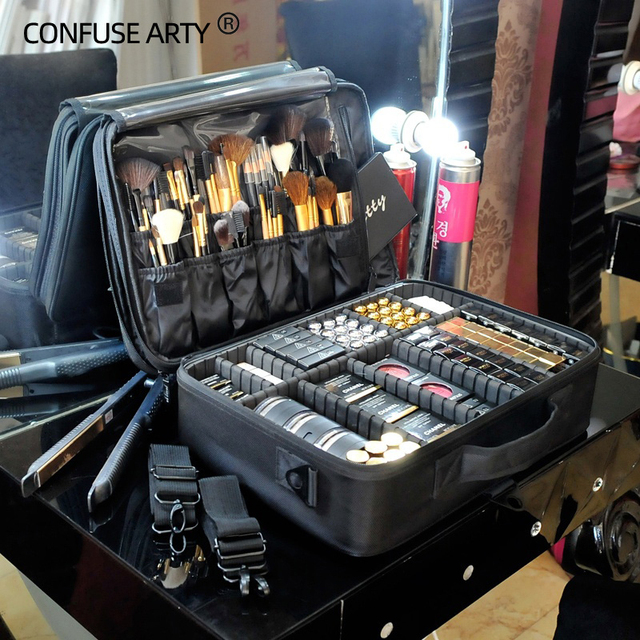 New 2017 High Quality Professional Empty Makeup Organizer Bolso Mujer Cosmetic Case Travel Large Capacity Storage Bag Suitcases 1