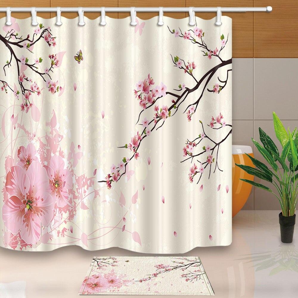 Cherry Blossoms Bathroom Decor Shower