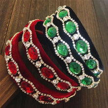 2021 New Styles Baroque Sparkly Rhinestone Headband for Women Crystal Green Red Diamond Hairbands Hair Hoop Girls Gift