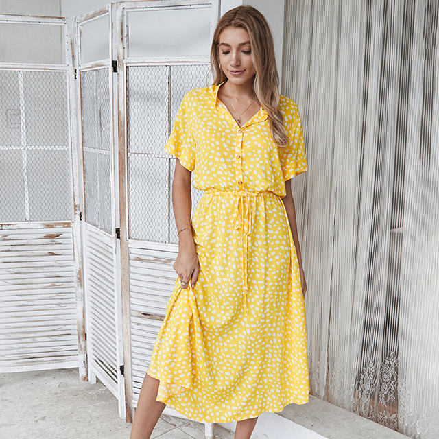 Fashion Polka Dot Print Dress Women High Waist  5