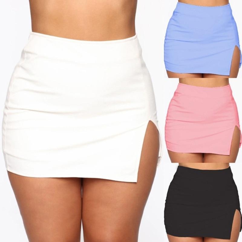 Women Mini Shirt Summer Sexy Slim Plus Size Solid Color Female Splited High Waist Pencil Skirt Club Fashion 1
