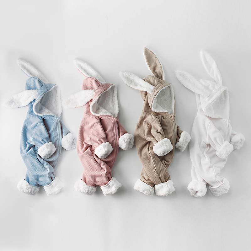 Winter Baby Rompers Newborn Boys Girls Clothes Rabbit Ear Hooded Jumpsuit infant Costume Fleece Thick Baby boys Romper pajamas | Happy Baby Mama