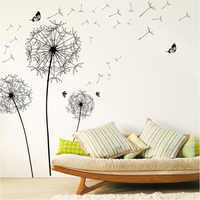 large black dandelion flower wall stickers home decoration living room bedroom furniture art decals butterfly murals
