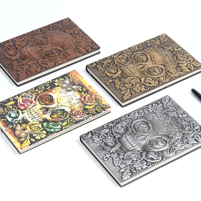 Creative Skull Flower Embossed A5 Leather Notebook Journal Notepad Travel Diary Planner School Office Supplies