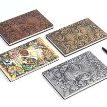 Creative Skull Flower Embossed A5 Leather Notebook Journal Notepad Travel Diary Planner School Office Supplies cute leaves note book a5 a6 notebook 150 page notepad diary journal school office supplies stationery birthday present