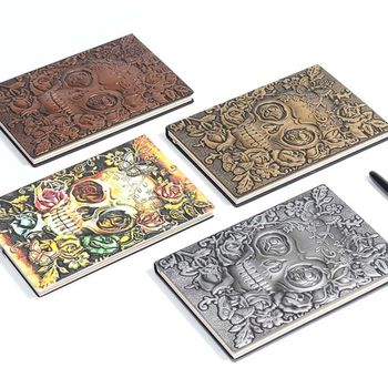 цена Creative Skull Flower Embossed A5 Leather Notebook Journal Notepad Travel Diary Planner School Office Supplies онлайн в 2017 году