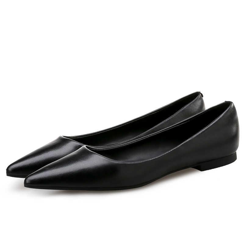 Phụ Nữ Da Giày Plus Kích Thước Lớn 42 43 44 Màu Trơn Phong Cách Cơ Bản Tất Cả Trận Đấu Đen Làm Việc Giày Đàn Da mũi Nhọn