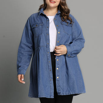 L-6XL Plus Size Denim Shirts Women Casual Long Sleeve Turn Down Collar Blouses 2019 Spring Autumn Female Jean Shirt Blouse D25 nicemix 2019 jeans painting blouses female long sleeve turn down collar shirts spring autumn casual loose women blouse shirts