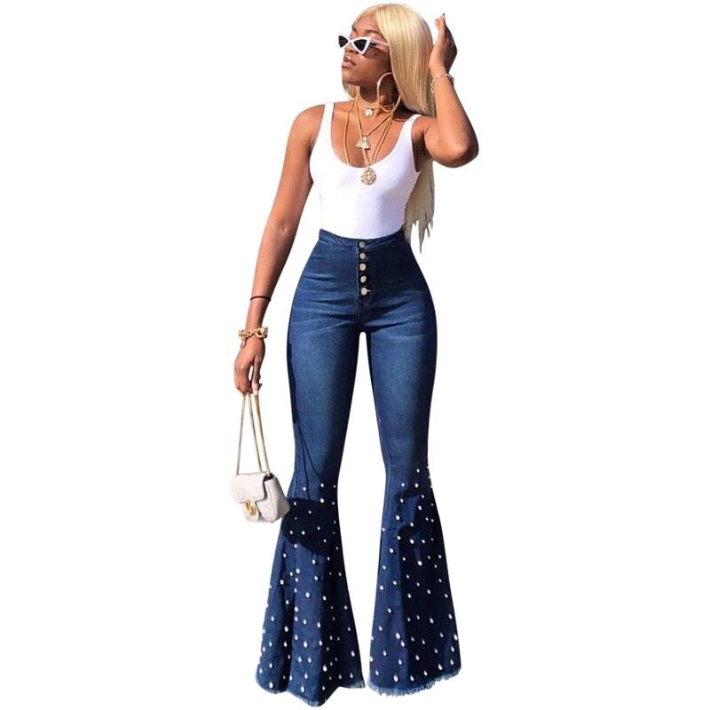 Women High Waist Beading Flare Jeans Vintage Wide Leg Jeans Spring Autumn Button Long Denim Calca Jeans Ladies Bell Bottom Jeans