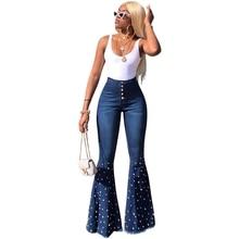 Women high waist beading flare jeans Vintage wide leg Jeans Spring Autumn Button Long denim calca Ladies bell bottom