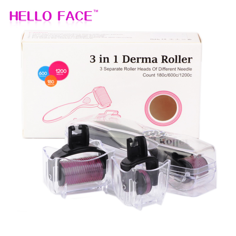 DRS 3 In 1Micro Needle Derma Roller 180/600/1200 Needles Dermaroller Kits For Skin Care Eye Body Massager & Hair Loss Treatment